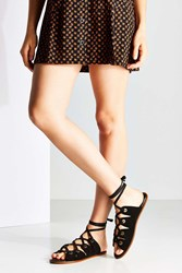 Urban Outfitters Suede Grommet Gladiator Sandal Black
