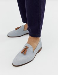 Kg By Kurt Geiger Loafers In Blue Suede With Contrast Tassel Detail