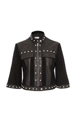 Red Valentino Suede Jacket With Leather Inserts Black