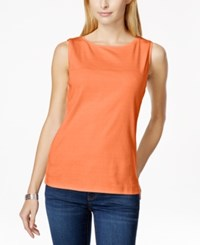 Karen Scott Petite Solid Boat Neck Tank Top Only At Macy's