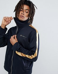 Mennace Track Jacket In Navy With Gold Side Stripe