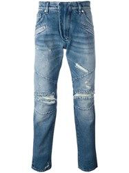 Balmain Pierre Distressed Slim Jeans Blue