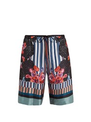 Meng Floral Print And Striped Silk Satin Pyjama Shorts Multi