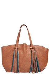 Big Buddha Faux Leather Fringe Tassel Tote Brown Cognac
