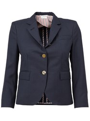 Thom Browne Three Quarter Sleeve Blazer Blue