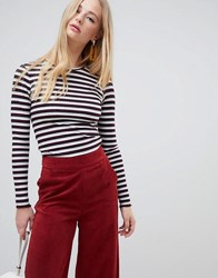 Warehouse Ribbed Long Sleeve Top In Stripe Red