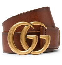 Gucci 4Cm Tan Burnished Leather Belt Brown