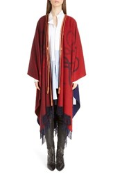 Loewe Women's Logo Wool And Cashmere Blanket Cape Red Navy