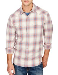 Lucky Brand Long Sleeve Plaid Shirt Red Blue