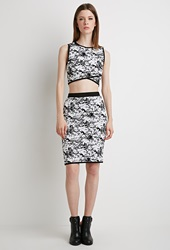 Forever 21 Abstract Patterned Pencil Skirt White Black