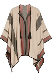 Talitha Leather Trimmed Cashmere And Wool Blend Cape Cream