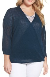 Nic Zoe Plus Size Women's Four Way Convertible Cardigan Baltic