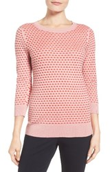 Halogenr Petite Women's Halogen Cotton Blend Pullover Pink Red Texture