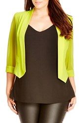Plus Size Women's City Chic Chiffon Sleeve Crop Blazer Daffodil