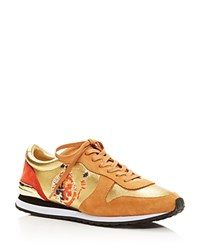Tory Burch Brielle Lace Up Sneakers Gold