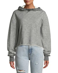 Rag And Bone Sweat Raw Edge Cotton Pullover Hoodie Heather Grey