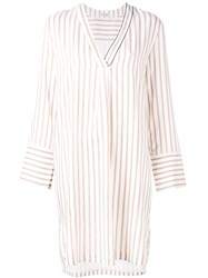 Brunello Cucinelli Stripe Shirt Dress Nude Neutrals