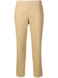 Theory Slim Fit Cropped Trousers Neutrals