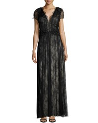 Catherine Deane Short Sleeve Lace Gown Black Champagne