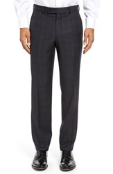 Ted Baker Men's London Jefferson Flat Front Check Wool Trousers Charcoal