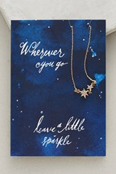 Anthropologie Notecard Gifting Necklace Blue