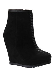 Isola Zurich Suede Wedge Booties Black