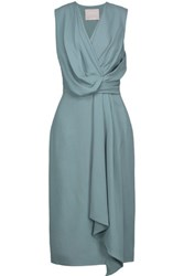 Jason Wu Draped Crepe Dress Gray Green