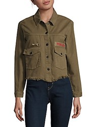 Saks Fifth Avenue Red Fringed Button Down Cotton Jacket Olive