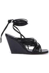 Rick Owens Woman Tangle Leather Wedge Sandals Black