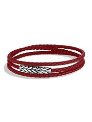 David Yurman Chevron Triple Wrap Leather Bracelet Red