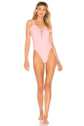 Kendall Kylie Lace Up One Piece Pink