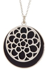 14Th And Union Filagree Disc Overlay Pendant Necklace Black