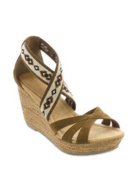 Minnetonka Drew Suede And Elastic Wedge Sandals Brown