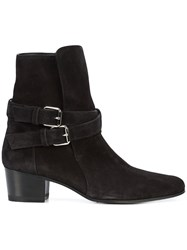 Amiri Double Strap Ankle Boots Leather Suede Black