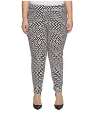 Krazy Larry Plus Size Pull On Ankle Pants Black White Geometric Print Women's Dress Pants Gray