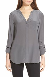 Trouve Women's Trouve Silk Blouse Grey Tornado