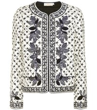 Tory Burch Tilda Embroidered Cotton Jacket Multicoloured