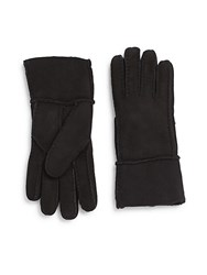 Saks Fifth Avenue Shearling Lined Suede Gloves Black