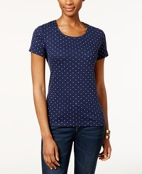 Karen Scott Short Sleeve Polka Dot Print Tee Only At Macy's Intrepid Blue