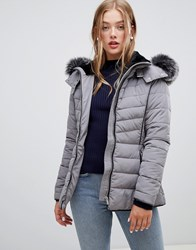 New Look Fitted Padded Parka Jacket Grey