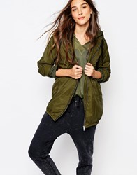 Pull And Bear Lightweight Casual Parka Khaki