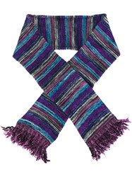 Ymc Striped Frayed Scarf Multicolour