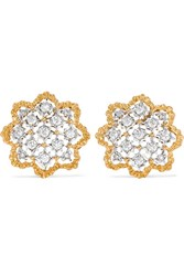Buccellati Rombi 18 Karat Yellow And White Gold Diamond Earrings One Size