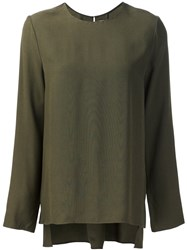 Adam By Adam Lippes Long Sleeve Crew Neck Top Green