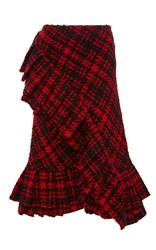 Marni Plaid Wool Ruffle Skirt Red