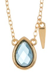 Melinda Maria Jacob London Blue Topaz Pendant Necklace Metallic