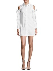 Saks Fifth Avenue Red Cold Shoulder Button Down Dress White
