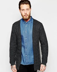 Asos Cardigan With Textured Front Panel Grey