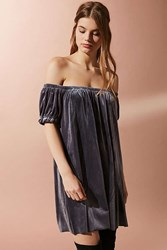 Urban Outfitters Uo Off The Shoulder Velvet Dress Silver