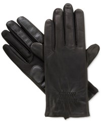Isotoner Signature Smartouch Stretch Leather Tech Gloves Black